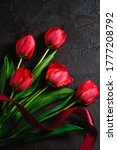 Red Bunch Of Tulip Flowers Wit...