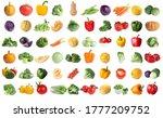 set of fresh ripe vegetables on ... | Shutterstock . vector #1777209752
