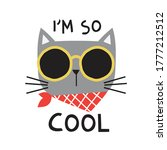 cool cat head drawing as vector ... | Shutterstock .eps vector #1777212512