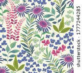 floral abstract pattern with... | Shutterstock .eps vector #1777244285