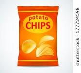 potato chips bag isolated on... | Shutterstock .eps vector #177724598