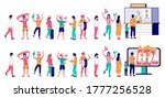people standing in line at...   Shutterstock .eps vector #1777256528