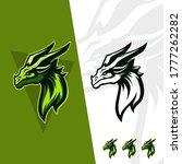Green Dragon Head Logo Gaming...