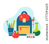 schoolbag and school supplies...   Shutterstock .eps vector #1777291625
