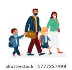 parents with children in...   Shutterstock .eps vector #1777337498