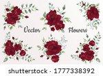 set of flower red rose  green... | Shutterstock .eps vector #1777338392
