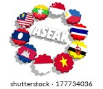 asean flags on gears | Shutterstock . vector #177734036
