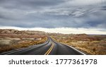 Stormy Clouds Over Road In...