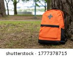 Small photo of Disaster prevention rucksack placed in the plaza.
