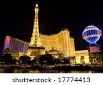 Stock photo las vegas strip at night with lights and water 17774413