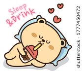 bear sleeping and drinking... | Shutterstock .eps vector #1777450472