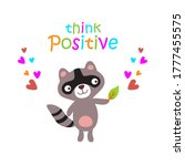 cute baby raccoon with funny... | Shutterstock . vector #1777455575