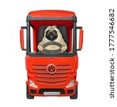 The Pug Dog Is Driving A Red...