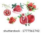 Set Pomegranates On A White...