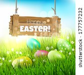 easter greeting card with... | Shutterstock .eps vector #177757232