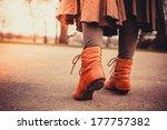 closeup on a woman's feet as... | Shutterstock . vector #177757382