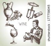 Hand Drawn Sketch Vector Wine...