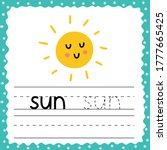flashcard with word sun for... | Shutterstock .eps vector #1777665425