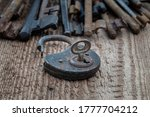 Old Rusty Metal Little Key In...