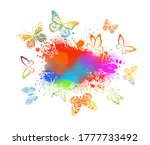 Abstract Blot And Butterflies....