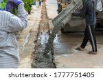 mixed concrete pouring at... | Shutterstock . vector #1777751405