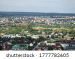 Panorama view of the city of Kielce from a telegraph