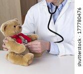 female doctor examines kuschelb ... | Shutterstock . vector #177780476