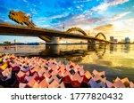View Of Dragon Bridge At Sunset.