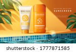 sunscreen ad template with...   Shutterstock .eps vector #1777871585