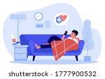 sick man calling ambulance. guy ... | Shutterstock .eps vector #1777900532