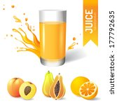 juice in glass and fruits icons | Shutterstock .eps vector #177792635