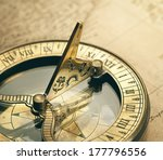 old compass on vintage map.... | Shutterstock . vector #177796556
