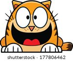 Cute cartoon cat with a wide smile.  - stock vector