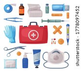 first aid kit box with medical...   Shutterstock .eps vector #1778097452