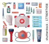 first aid kit box with medical...   Shutterstock .eps vector #1778097458