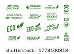 vegan tag label set. natural... | Shutterstock .eps vector #1778100818
