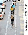 Bikes in bike lane queue - stock photo