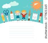 schoolboy  schoolgirl and funny ... | Shutterstock .eps vector #177821165