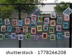 Small photo of Washington, DC – July 17, 2020: Black Lives Matter posters honoring victims of police killings on the hastily constructed fence at Lafayette Park that now blocks access to the White House.