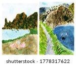 Watercolor Fantasy Ocean Coast...