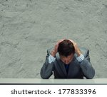 depressed young businessman... | Shutterstock . vector #177833396
