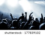 silhouettes of concert crowd in ... | Shutterstock . vector #177839102