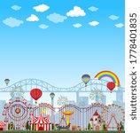 amusement park scene at daytime ... | Shutterstock .eps vector #1778401835