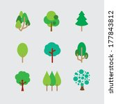 set of different trees | Shutterstock .eps vector #177843812