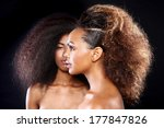 Small photo of Beautiful Stunning Portrait of Two African American Black Women With Big Hair