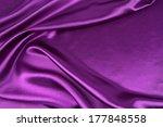 Stock photo closeup of rippled purple silk fabric 177848558