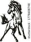 Vector silhouette of a running mustang horse