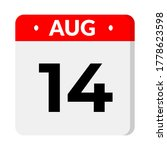 august 14 isolated calendar... | Shutterstock .eps vector #1778623598
