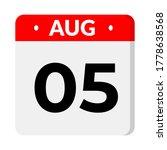 august 05   flat calendar icon | Shutterstock .eps vector #1778638568