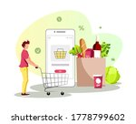 young man with trolley ...   Shutterstock .eps vector #1778799602